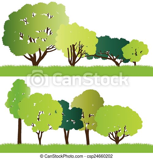 Forest trees silhouettes - csp24660202