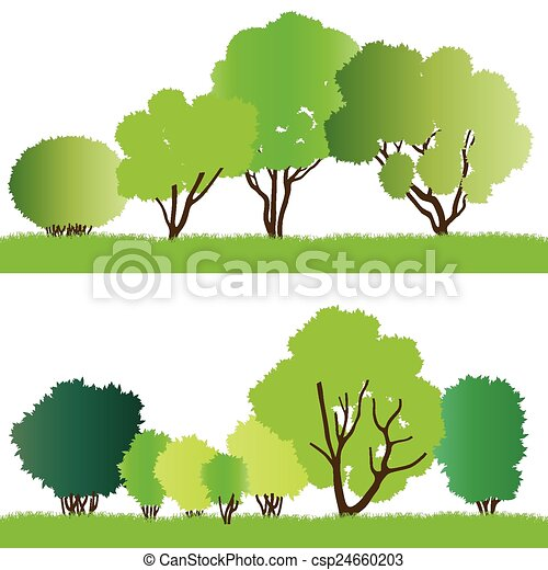 Forest trees silhouettes - csp24660203