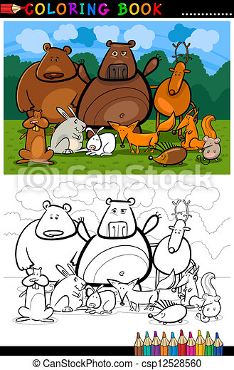forest wild animals cartoon for coloring book - csp12528560