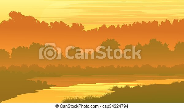 Forest with a river at sunset. - csp34324794