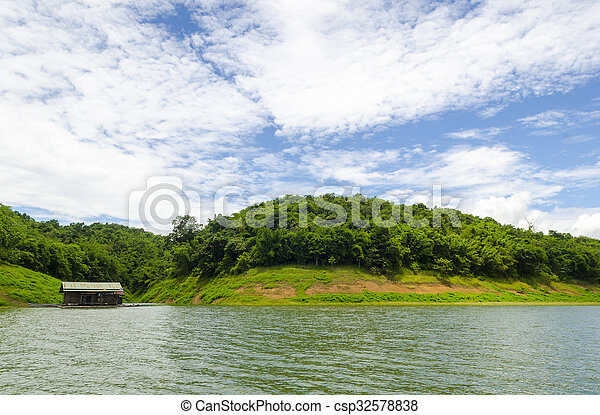 forest with lake - csp32578838