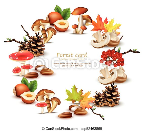 Forest wreath with mushrooms, nuts, leaves, pinecone Vector. Autumn backgrounds - csp52463869