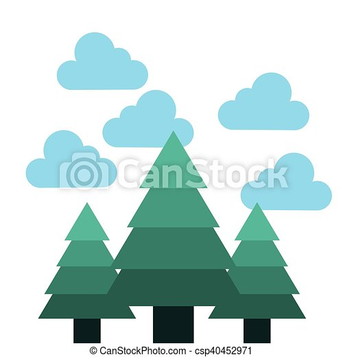 foresta albero, paesaggio, icona - csp40452971