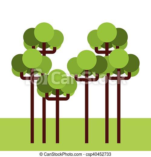 foresta albero, paesaggio, icona - csp40452733