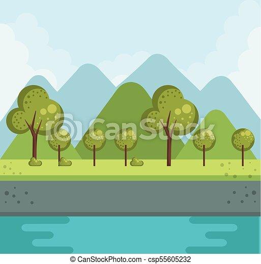 foresta, paesaggio, lago - csp55605232