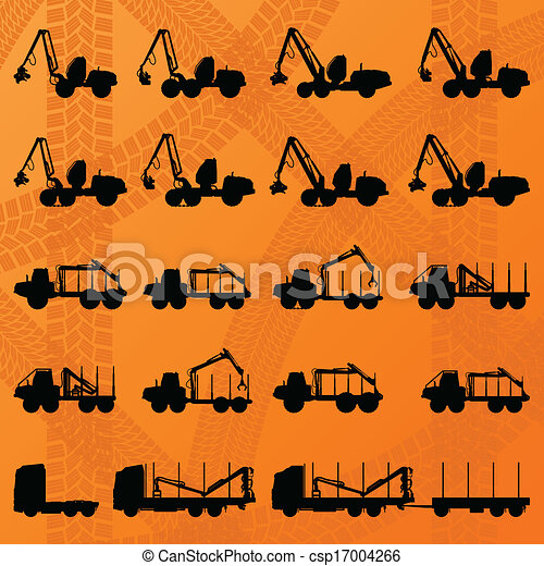 Forestry tractors, trucks and loggers hydraulic machinery detailed editable silhouettes illustration collection background vector - csp17004266