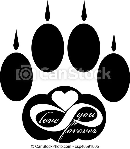Forever love icon with cat paw  isolated on white background. Vector illustration - csp48591805