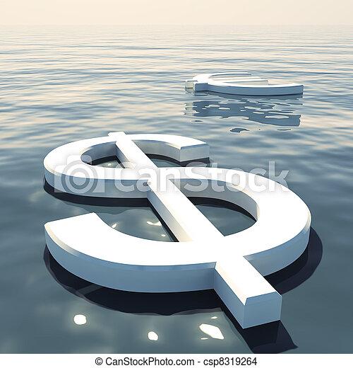 forex, esposizione, soldi, lontano, dollaro, andare, scambi, galleggiante, o, euro - csp8319264
