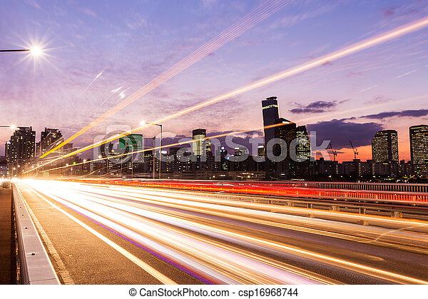 forgalom, város, elfoglalt, modern - csp16968744