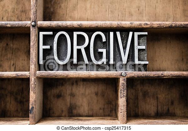 Forgive Vintage Letterpress Type in Drawer - csp25417315