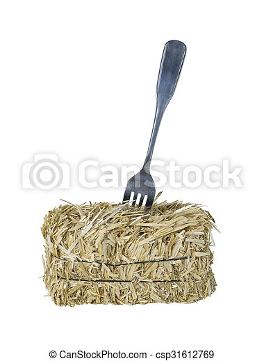 Fork in a Bale of Hay - csp31612769