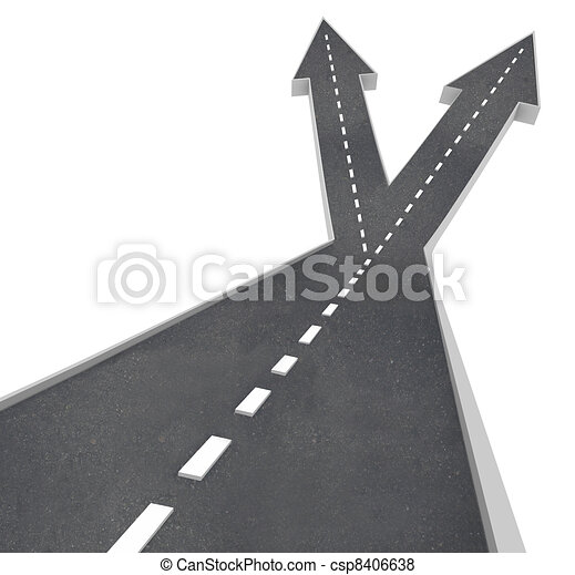 Fork in Road Ahead Choose From Two Directions - csp8406638