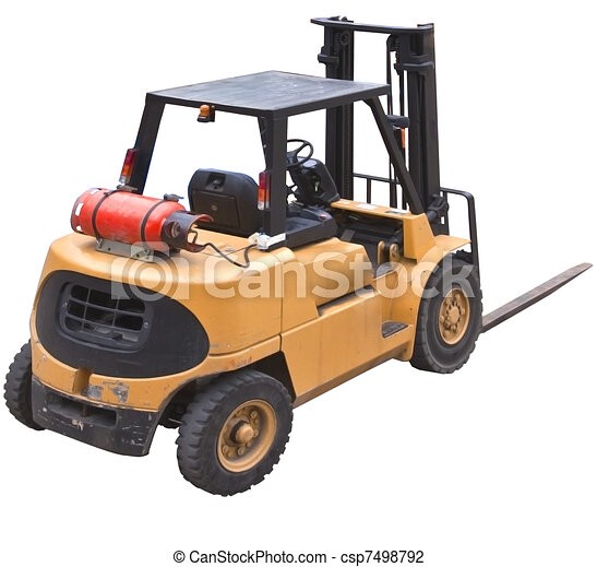fork lift isolated from rear - csp7498792