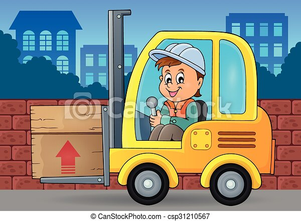 Fork lift truck theme image 3 - csp31210567