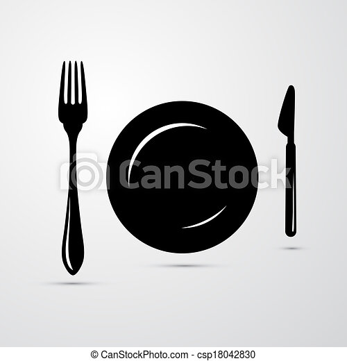 Fork, Plate and Knife Illustration - csp18042830