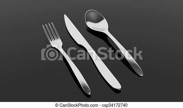 Fork, spoon and knife, isolated on black background. - csp34172740