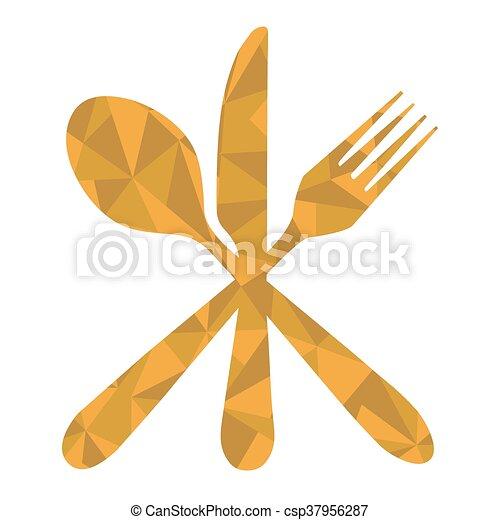 fork spoon knife geometric - csp37956287