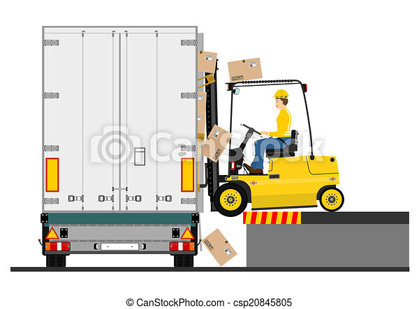 Forklift and trailer - csp20845805