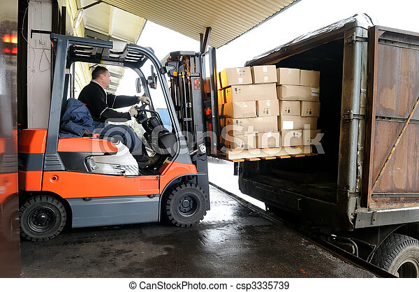 Forklift in warehouse - csp3335739
