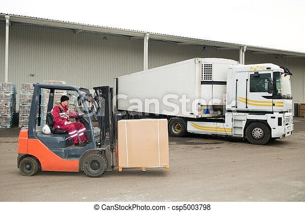 forklift loader at warehouse outdoors - csp5003798