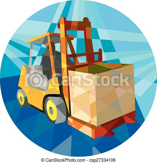 Forklift Truck Materials Box Circle Low Polygon - csp27334106