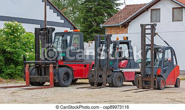 Forklift Truck Outside - csp89973116
