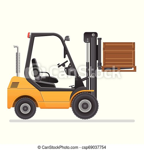 Forklift truck. Vector illustration isolated on white background. - csp69037754
