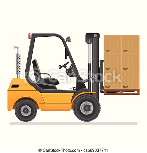 Forklift truck. Vector illustration isolated on white background. - csp69037741