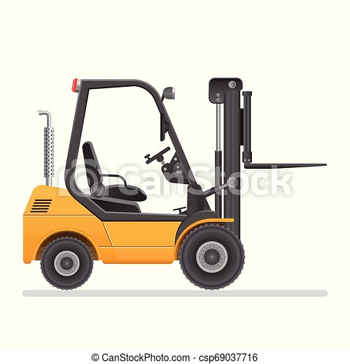 Forklift truck. Vector illustration isolated on white background. - csp69037716