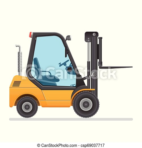 Forklift truck. Vector illustration isolated on white background. - csp69037717