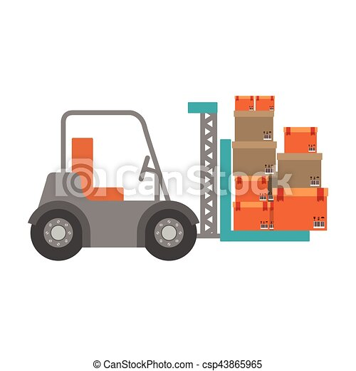 forklift truck with sealed packages - csp43865965