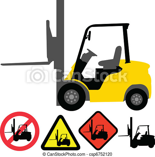 Forklift illustration and signs - vector.