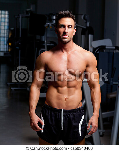 formé, gymnase, poser, fitness, homme muscle - csp8340468