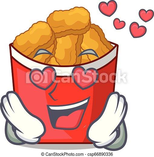 En el amor nuggets de pollo en forma de dibujos animados - csp66890336