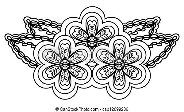 forma, astratto, angle., isolato, disposizione, sfondo nero, floreale, bianco, bordo - csp12699236