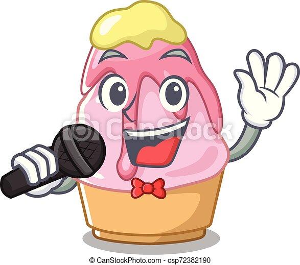 Cantando kakigori con la forma de dibujos animados - csp72382190