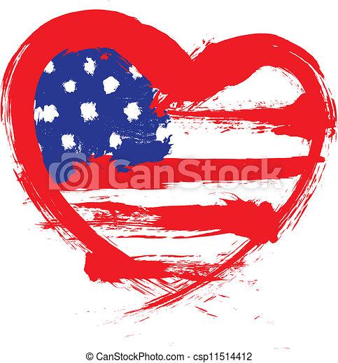 forma coração, bandeira americana - csp11514412