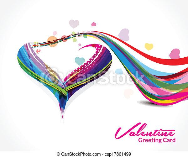 forma coração, vetorial, fundo, onda - csp17861499