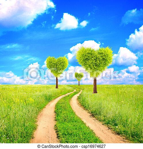 Forma Corazón árboles Verdes Campo
