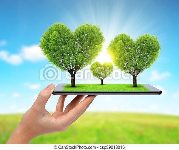 Forma Corazón árboles Corazón Tableta árboles Mano Forma