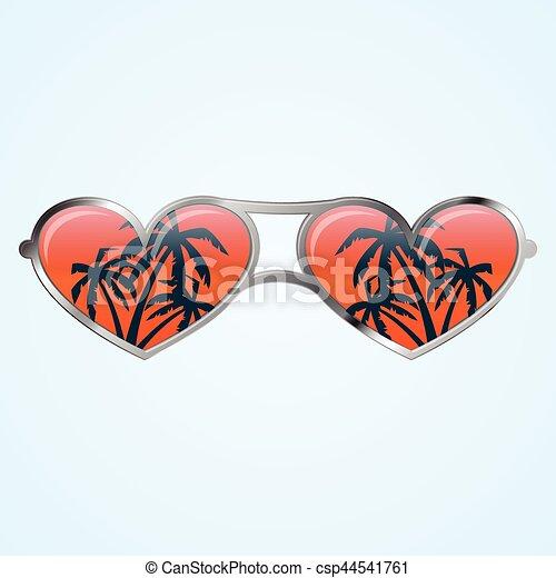 504f1c576f Forma corazón, anteojos. Gris, gafas de sol, palmas, forma corazón ...