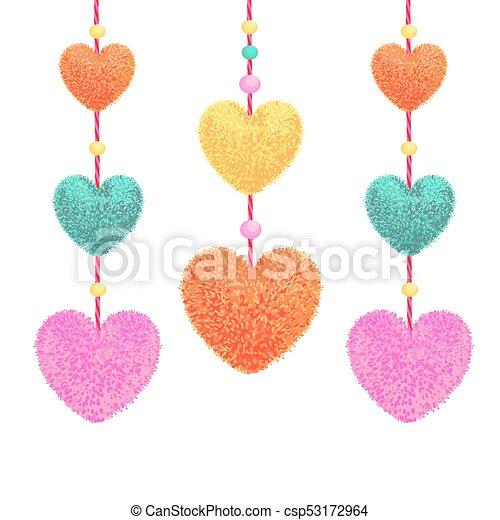Elementos con pompones en forma de corazón - csp53172964