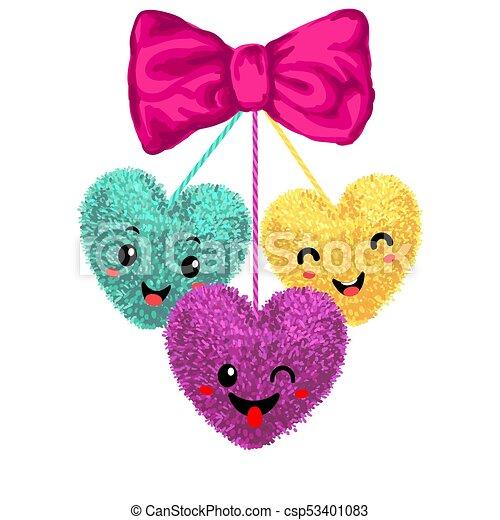 Elementos con pompones en forma de corazón - csp53401083