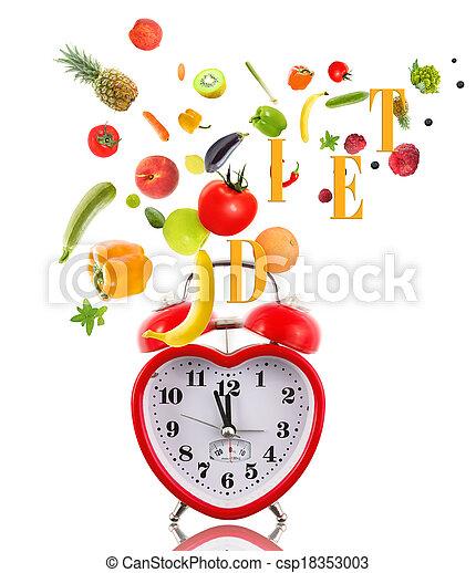 Reloj en forma de corazón con frutas y verduras. - csp18353003