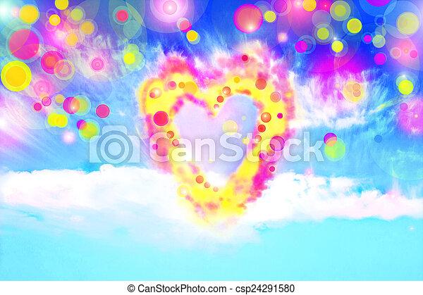forma corazón, nubes, mágico - csp24291580