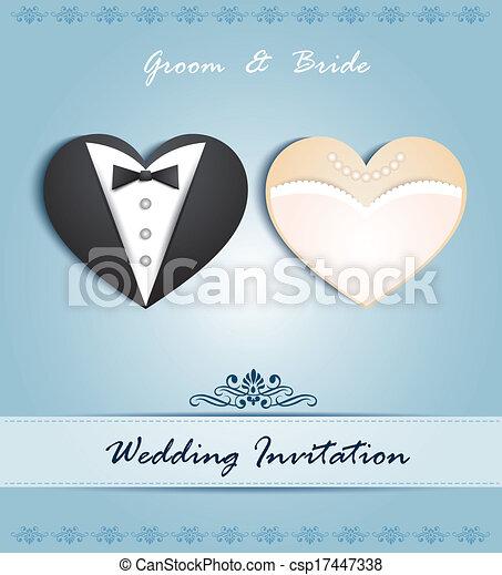 Tarjeta de boda en forma de corazón - csp17447338