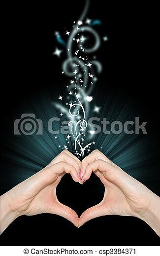 forma cuore, mani, amore, magia - csp3384371