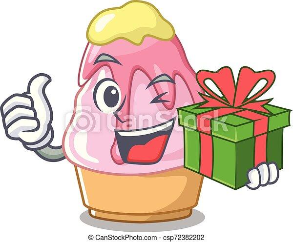 Con el regalo Kakigori en forma de dibujos animados - csp72382202