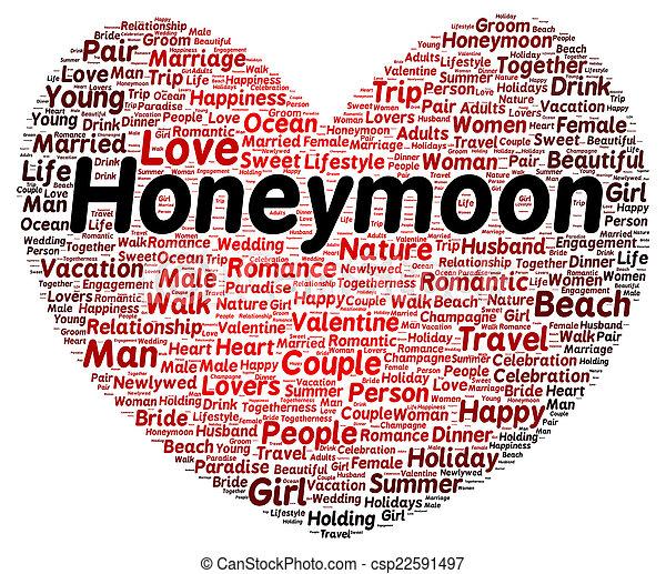 Palabra de luna de miel en forma de nube - csp22591497