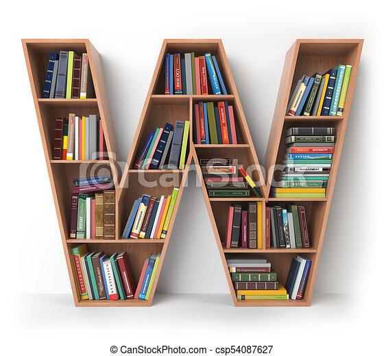 Mensole Per Libri.Forma Mensole W Isolato Libri White Lettera Alfabeto